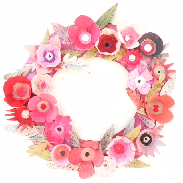 Egg Carton Flower Wreath 13