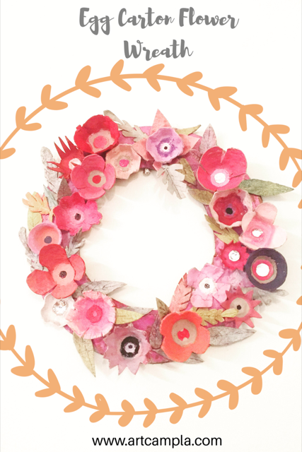 Egg Carton Flower Wreath 17