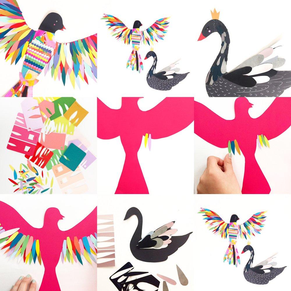 Paint Chip Birds 3