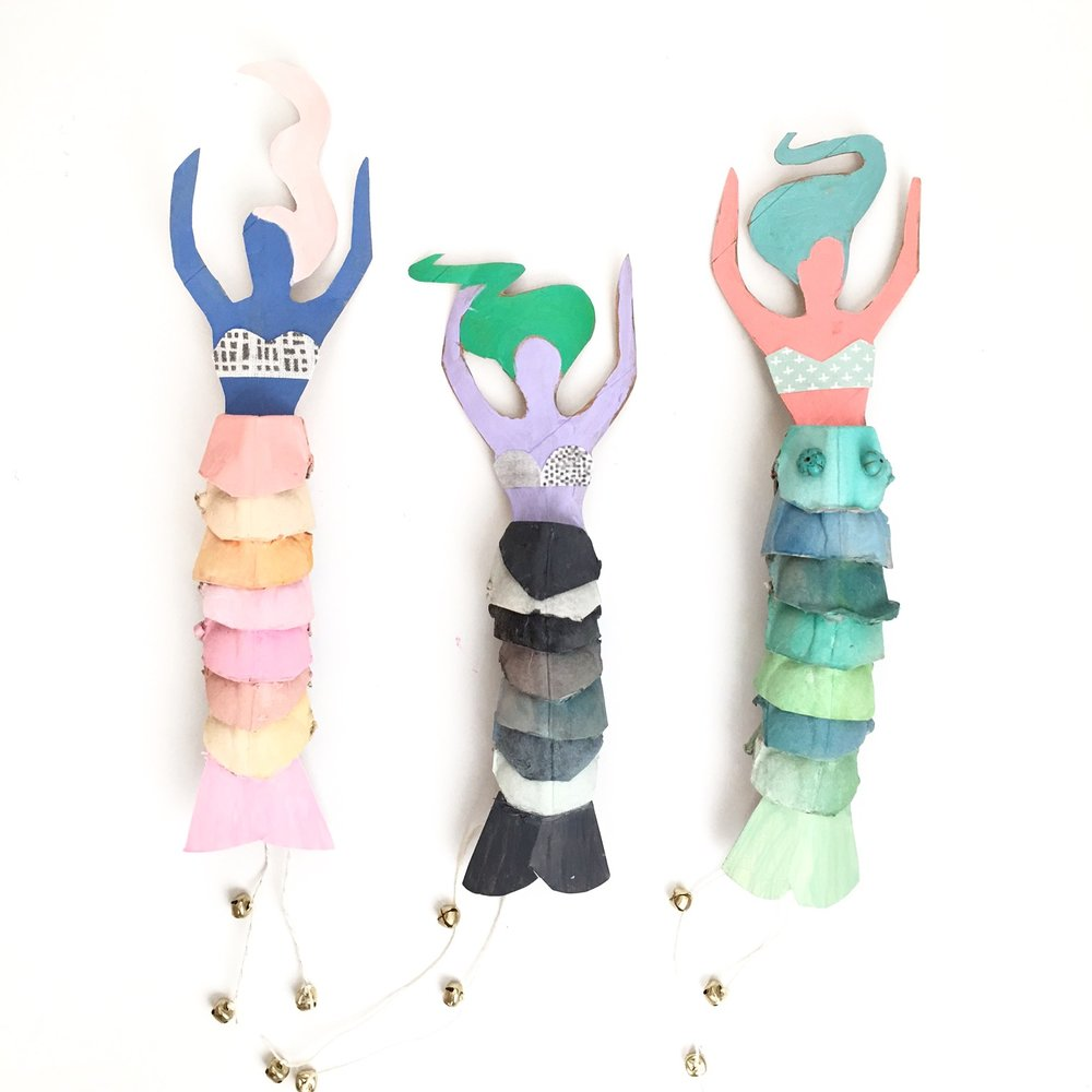 Egg Carton Mermaid Dolls 1