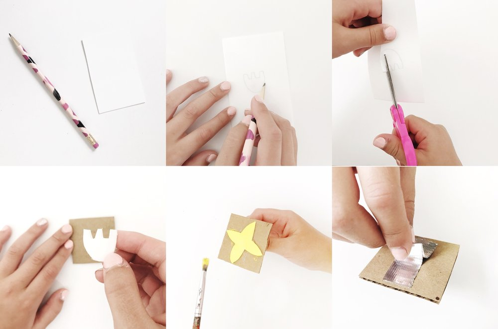 1. Trace your design on foam with a semi-dull pencil. 2. Cut your foam shape out. 3. Glue your foam shape onto a piece of cardboard or a wooden block. 4. You can use paint or an ink pad to print your design. 5. Create a handle for your stamp out of tape.