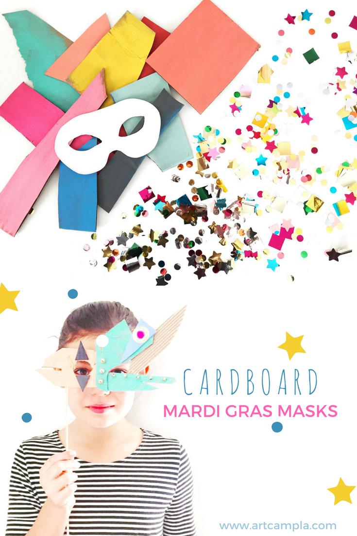 CARDBOARD MARDI GRAS MASKS