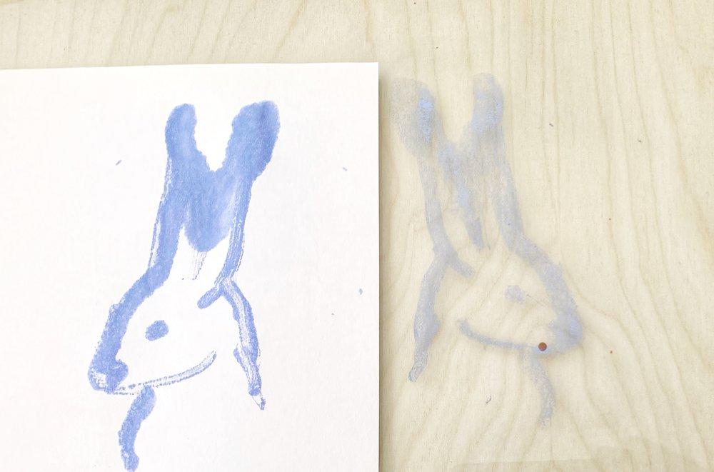 Framed Bunny Monoprints