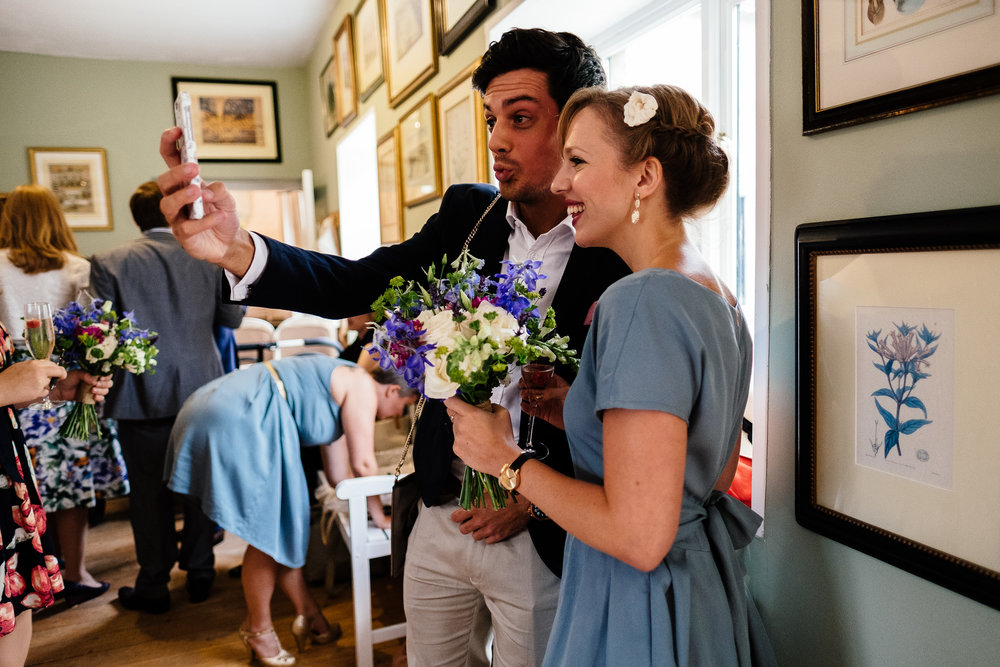 Guests taking a selfie at Merriscourt Wedding Venue, Oxfordshire