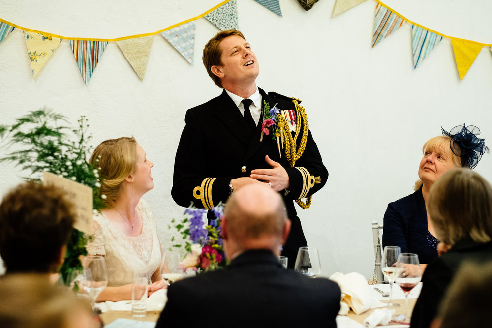 A groom giving a speech at a wedding at Merriscourt Wedding Venue, Oxfordshire
