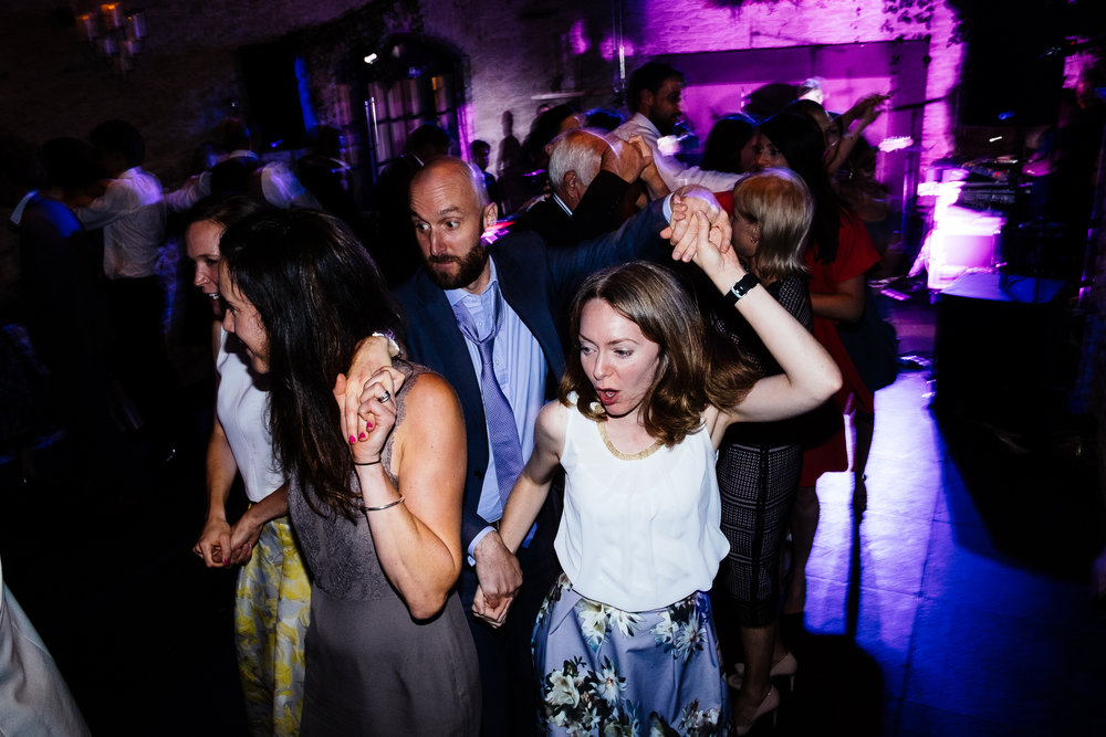A ceilidh at a wedding at Merriscourt Wedding Venue, Oxfordshire