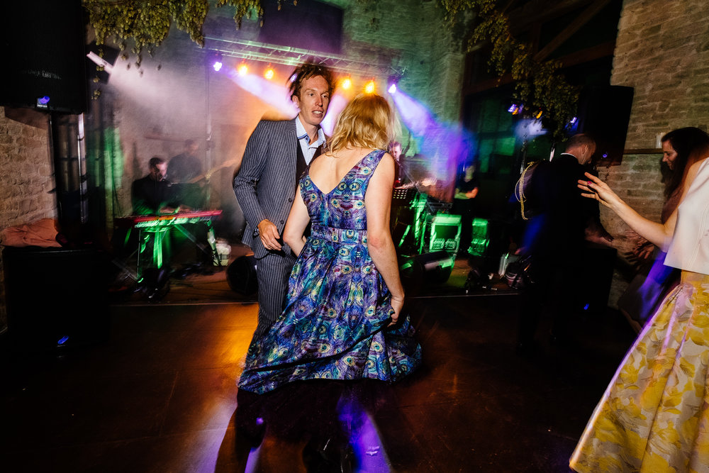 A disco at a wedding at Merriscourt Wedding Venue, Oxfordshire