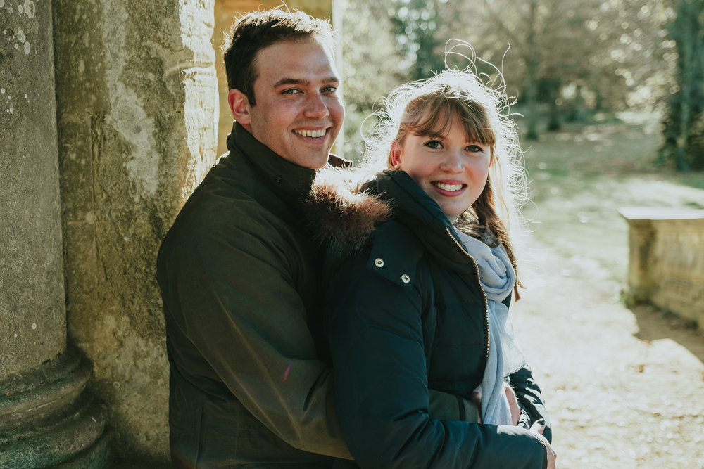 An engagement shoot photo taken at Stowe National Trust Gardens
