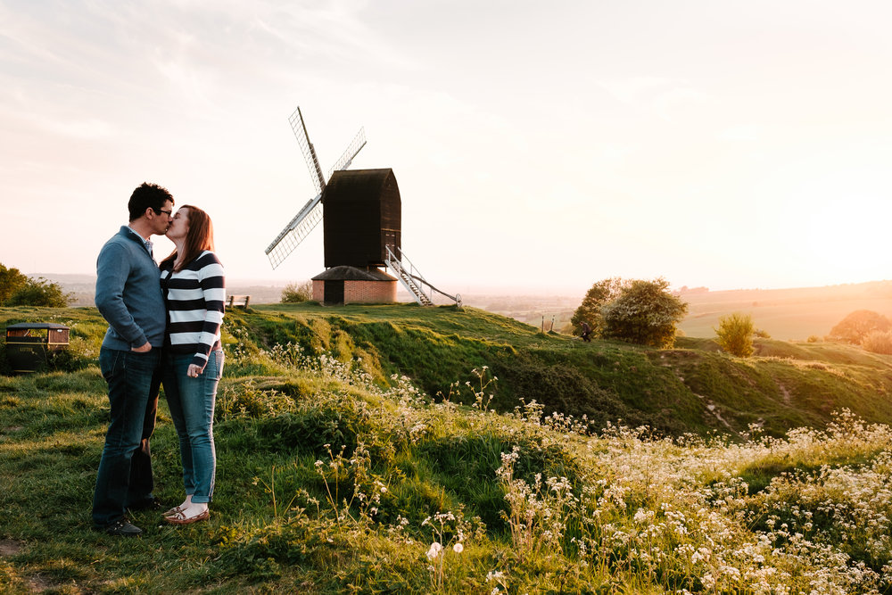 A Pre-wedding photoshoot of Jen and David at Brill Windmill, Buckinghamshire