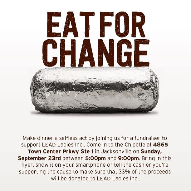 Meet us at Chipotle THIS Sunday (9/23), 5pm-9pm! Bring your family, friends and anyone else you know who loves burritos! ⠀⠀ * Show this flyer at the register, and LEAD Ladies will receive 33% of the proceeds. So tell your friends to tell their friends, and let's make it a party! 🎉 ⠀⠀ * Also, we have a few special people we'd like to introduce you to. So make sure to get out there early!💜