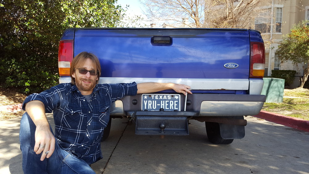 Vanity plates, vanity me, and my purple stick shift 97 Ford Ranger (Williamson Co., 1/1/2017)