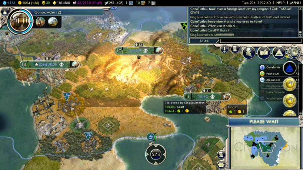 A Civ V game between Jordan (ConeTurtle) and I (KingSquirrelton) where he nukes one of my cities.