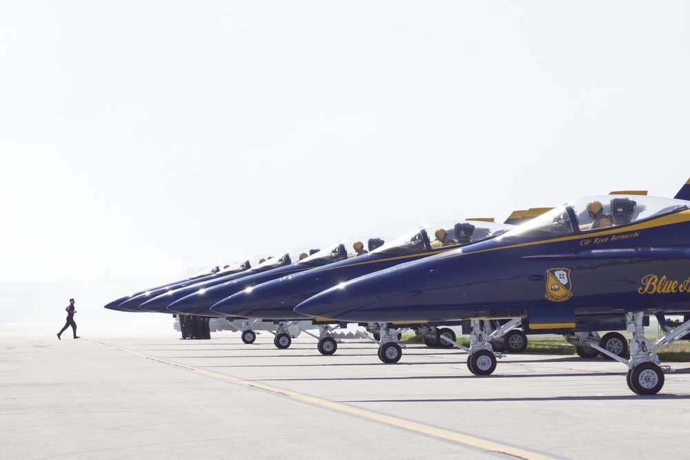 The U.S. Navy Blue Angels make their final preparations to take off at the Cleveland International Airshow on Sept. 4, 2016, in Cleveland, Ohio. Held every year at the Burke Lakefront Airport, the Cleveland International Airshow showcases many aeronautical acts with the Blue Angels being the highlight.