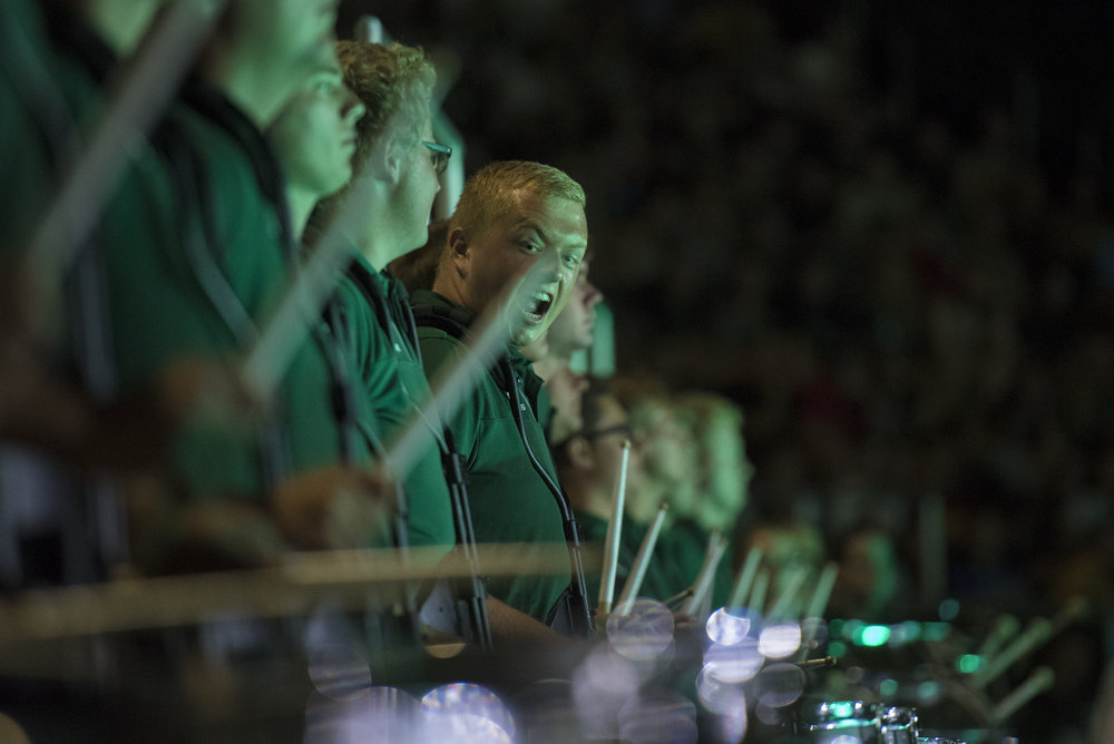 The Marching 110 drumline performs during Convocation on Aug. 26, 2018 in Athens, Ohio.