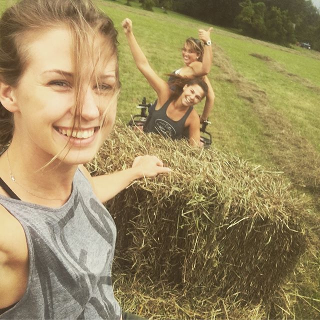 When a storm brews up out of nowhere, we all get together to fill the barn with the fresh cut hay!! #farmgirls #hiddenhills