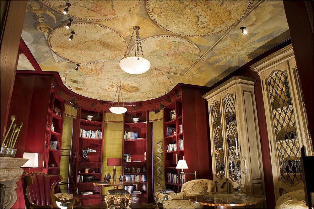 Antique Style Map Mural For A Residential Library Ceiling In Pebble Beach,  California.u0026nbsp