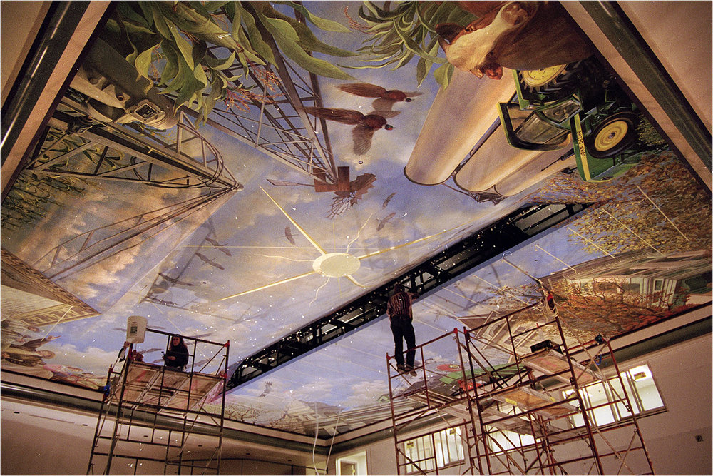 Local/small Town Theme Ceiling Mural For A Theater In A Historic Opera  House Building