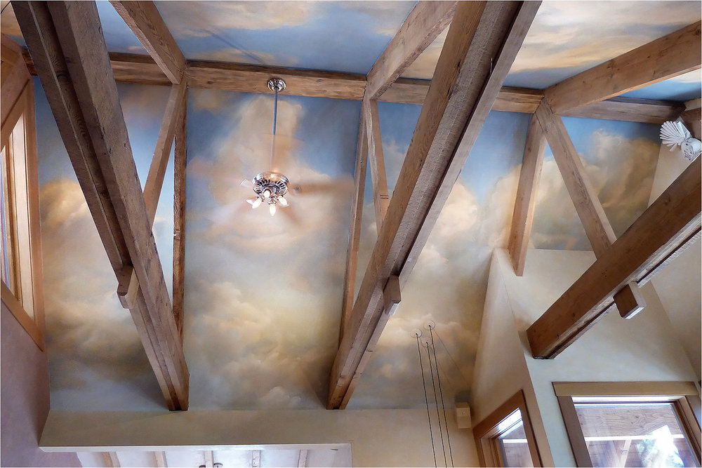 Sky Mural As A Backdrop For A Trussed Ceiling.u0026nbsp; Concealed In The Cloud