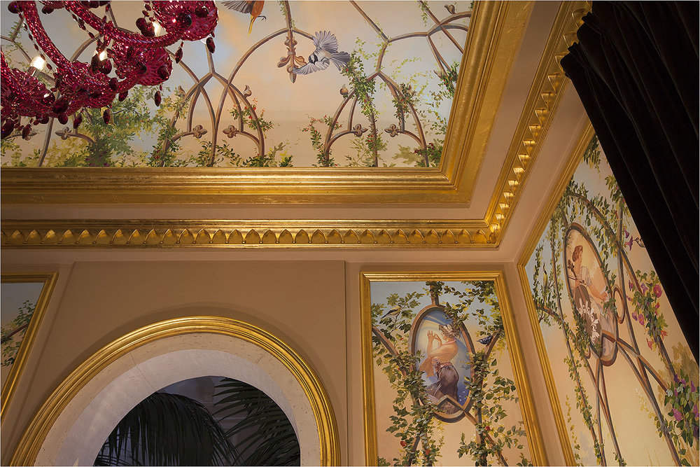 Mural Arts provides gold leaf gilding on moldings and mill work.  These murals were painted on canvas in the Mural Arts studio and installed on the walls and ceiling.
