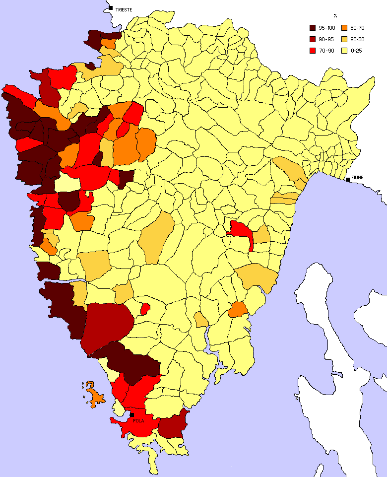 1910 Census, Percentage of Italians - By it:Utente:Wiskandar (Own work) [GFDL (http://www.gnu.org/copyleft/fdl.html) or CC-BY-SA-3.0 (http://creativecommons.org/licenses/by-sa/3.0/)], via Wikimedia Commons