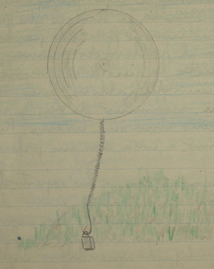 Franco's  sketch  of the fire balloon.