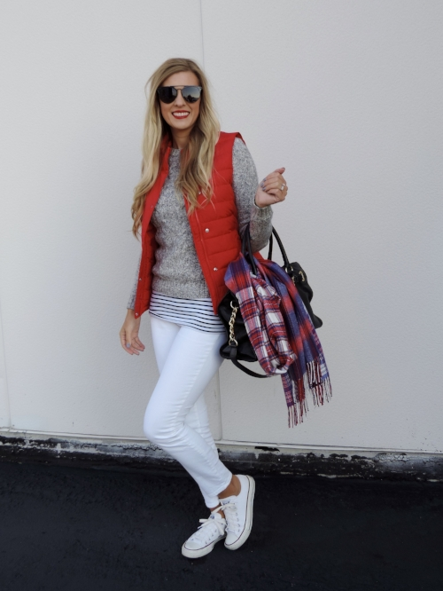"Puffy vest  here  // Sweater old, similar  here  // Striped shirt similar  here  // White jeans  here  // Shoes  here  // MK bag similar  here  // Scarf similar  here  // Lips: Sephora Rouge Cream Lipstick ""Hot Tango"""