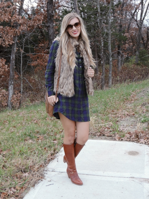"""Vest from a small boutique, similar  here  // Plaid dress similar  here  less expensive option  here  // Kate Spade Purse similar  here  // Boots vintage similar  here  // Lips: Sephora Rouge Cream Lipstick """"Hot Tango"""""""