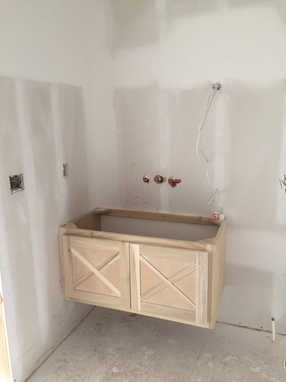 Floating vanity in guest bedroom 1
