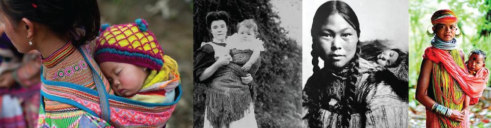 Image 1: celeryandcupcakes.com Image 2: Welsh mama wearing her baby circa 1905,courtesy of MuseumWales. Image 3: Inuit woman with baby circa 1906, courtesy Library of Congress. Image 4; ethnoworld.tumblr.com