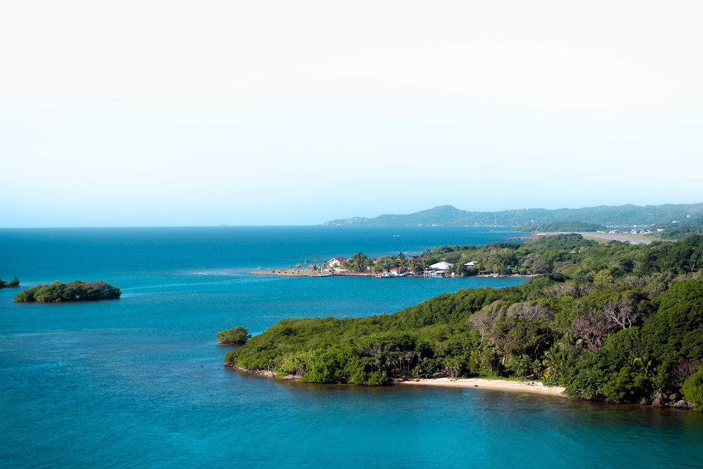 Captivating landscape views of Roatan from the top deck of the cruise ship