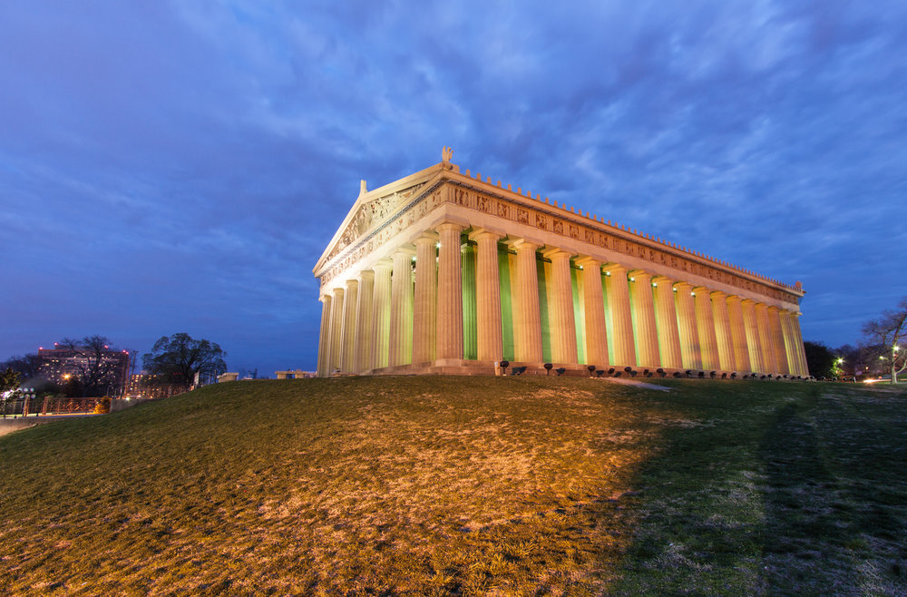 The Parthenon Nashville's own iconic symbol of the arts and culture nestled in the center of Centennial Park which is in the center of Nashville, Tennessee's bustling midtown.