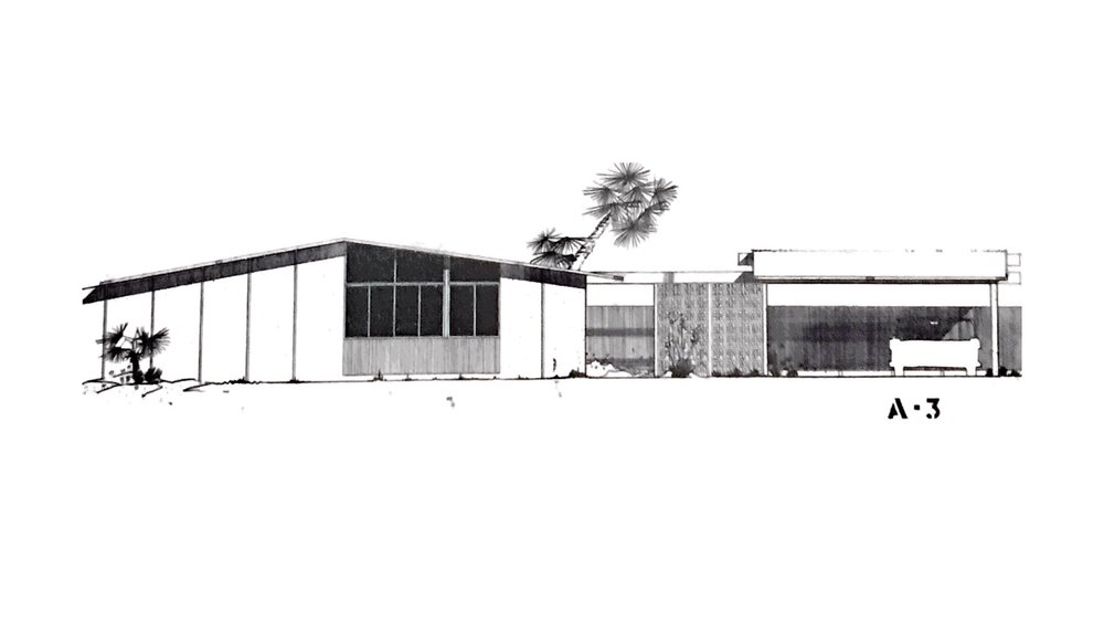 William Krisel's sketch of Racquet Club Estates Model A-3, the original design of The Avenida -
