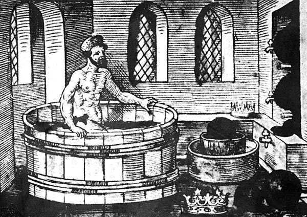 A 16th century woodcut of Archimedes'eureka moment.