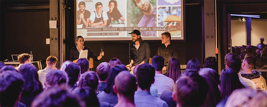 Founders of Wise Boys Burgers, Tim & Luke, speaking with Mum's Garage founder Natalie Robinson at our last Entrepreneurs Unleashed event.