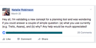 Example of how to post an easy question to get engagement on Facebook.