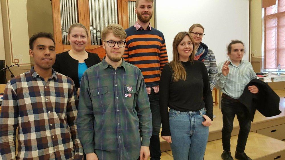 Panelisterna vid kommunalvalsdebatten i Norsen. Tack till Petter Wallenius för fotot.