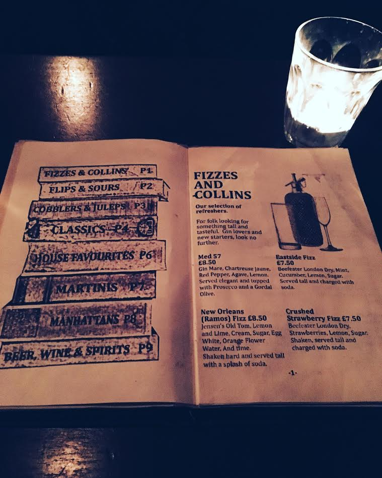 The cocktail menu at Berry & Rye