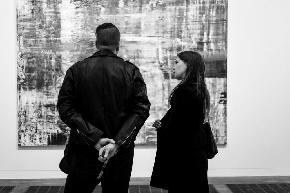 Couple staring at a painting, London - October 2017