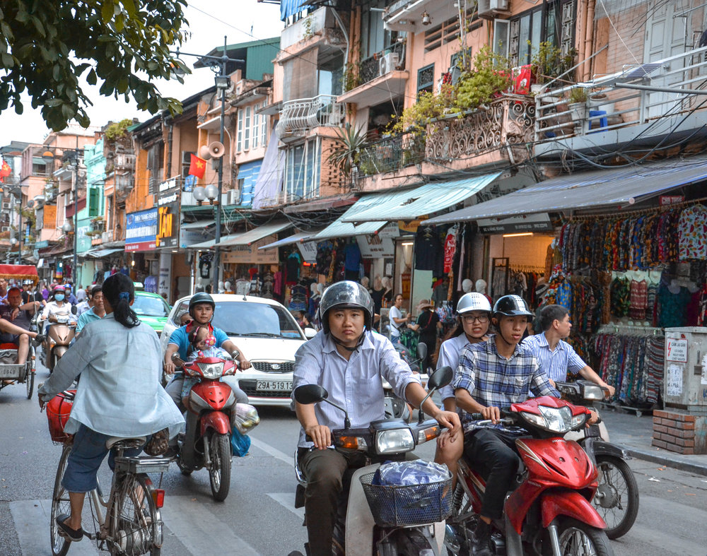 Motorbikes and traffic in Hanoi   Hanoi, as Ho Chi Minh, and most cities across Southeast Asia, is witnessing a fast urbanisation rate that causes traffic jams and makes bikes the most suitable vehicles to get around the city.