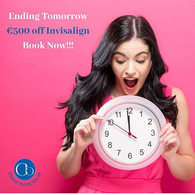"""Last chance to avail of €500 off Invisalign clear braces, offer ends tomorrow. Call us today on  01-4957844 to book your free assessment and to avail of the offer! We have payment plans available including finance from €99 a month!"""