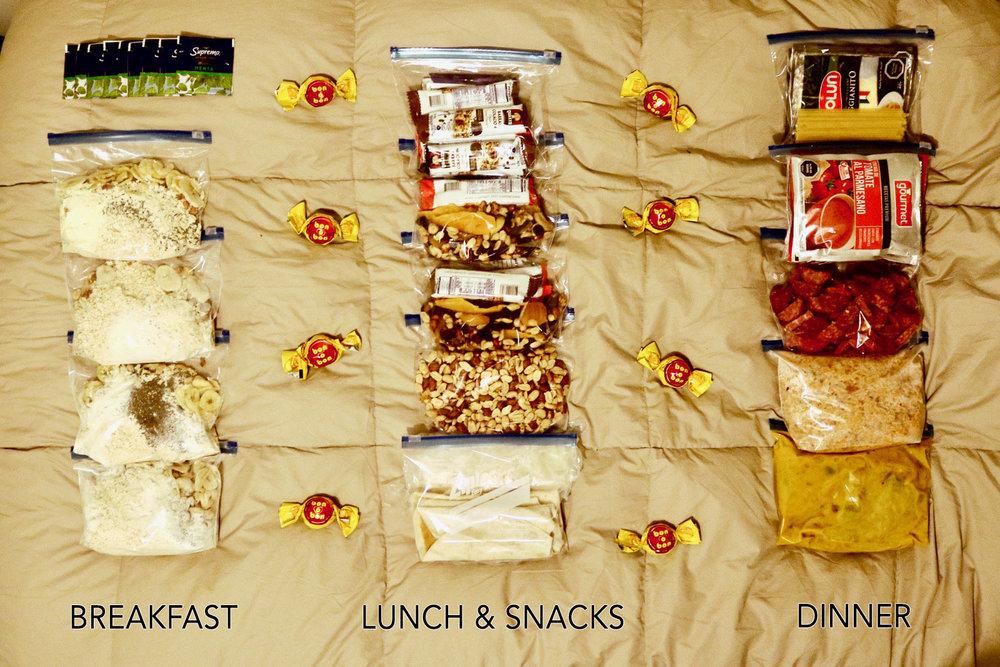 salkantay trek on your own food