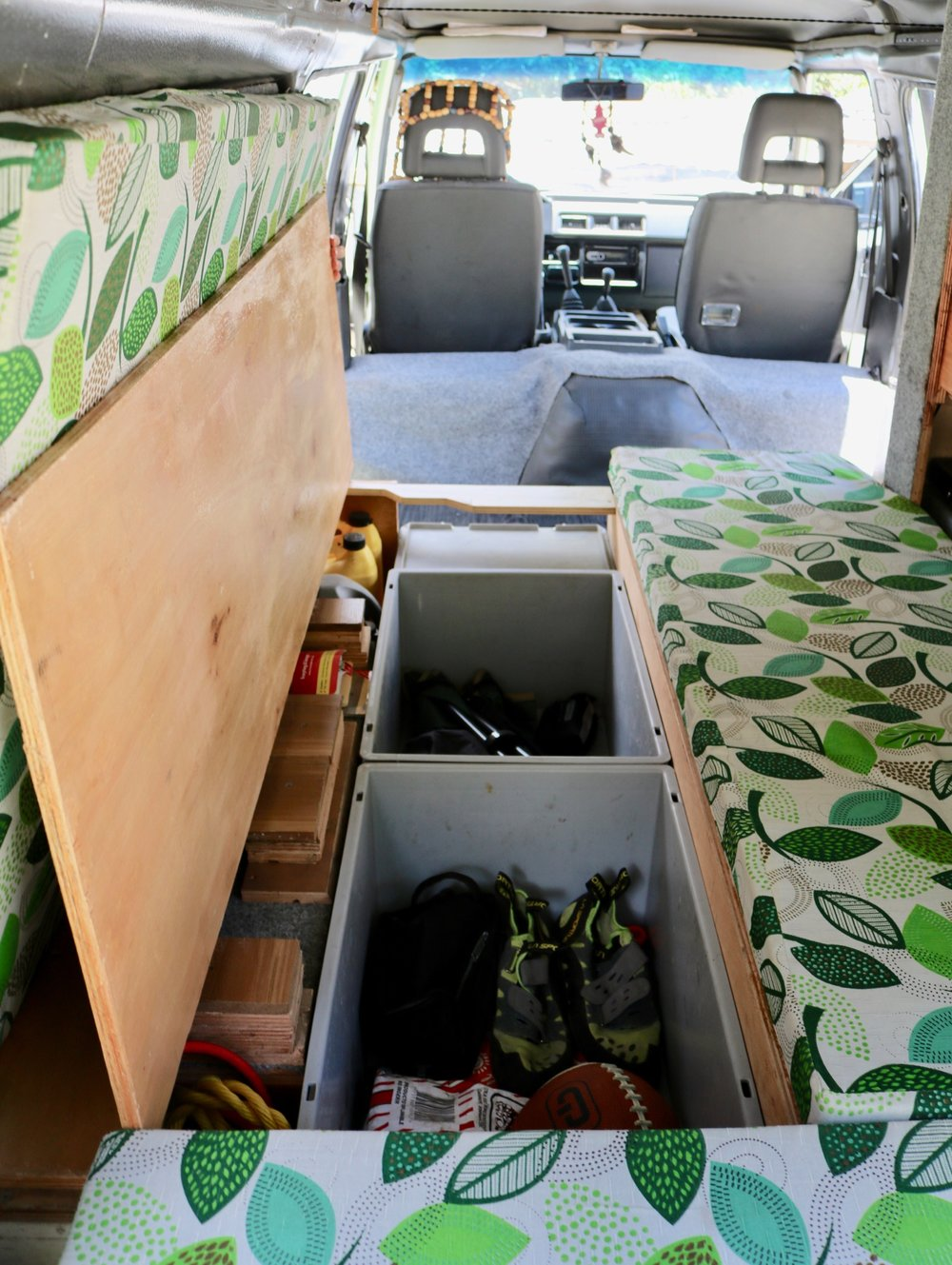 mitsubishi delica campervan conversion sofa storage