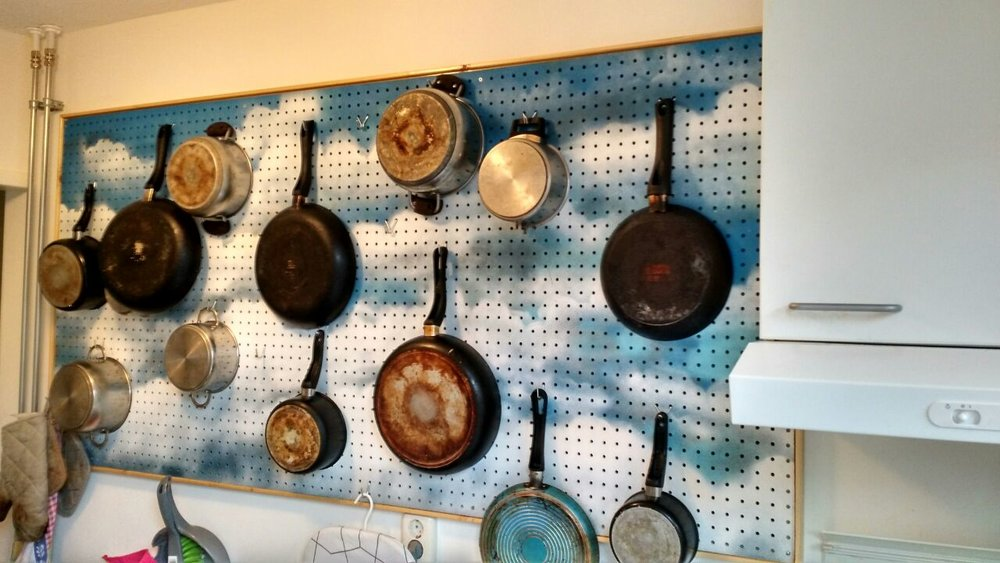 DIY kitchen pegboard graffiti spraypaint cloud