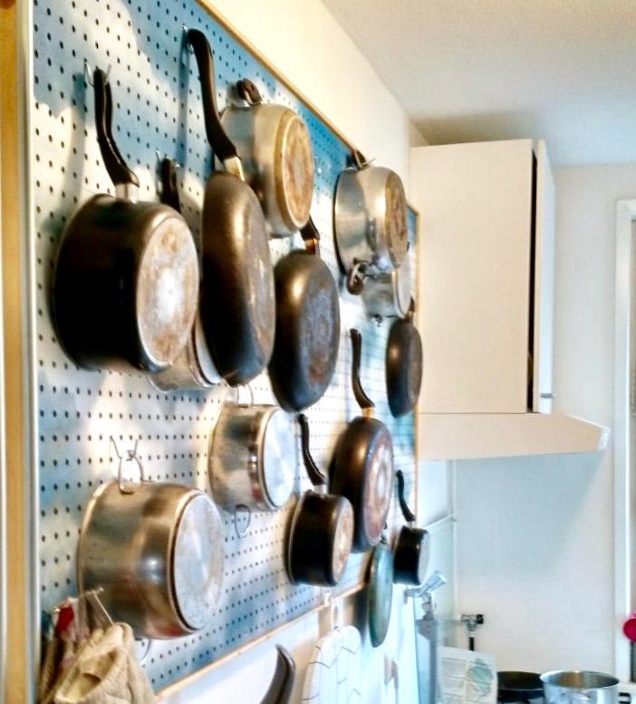 DIY kitchen pegboard pots pans graffiti spraypaint