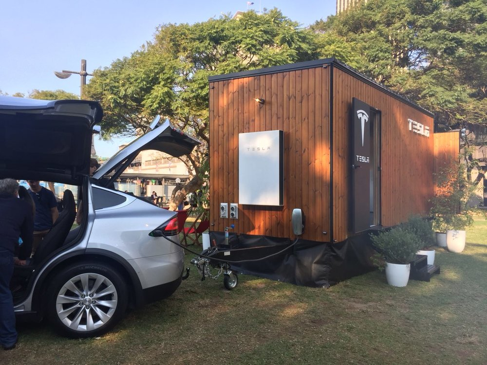 Tesla Powerwall (the big white block) on the Tiny House, storing energy from the sun