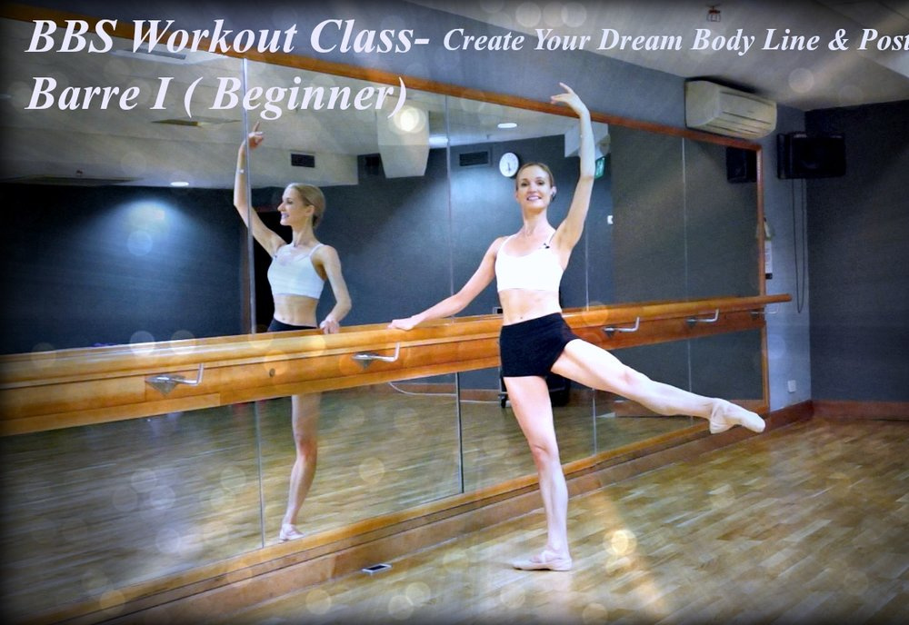 BBS Workout Class - Barre - I ( Beginner ) Create Your Dream Body Line & Posture! An elegant Ballet Barre Workout class based on some muscle firing exercises from the classical ballet to tone up your muscles, lengthen, strengthen your legs, stretch & sculpt your thighs, calves and glutes for a stunning body silhouette. Level : Beginner  -  Length : Approx. 30min