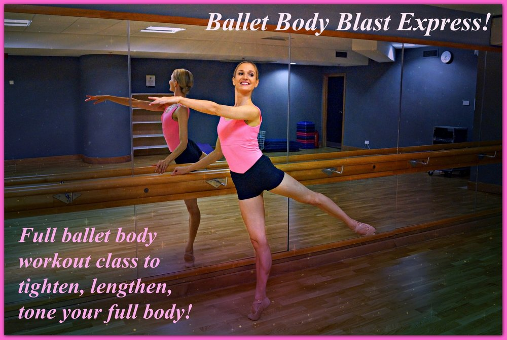 Ballet Body Blast Express   Full ballet body workout class to tighten, lengthen, tone your thighs and sculpt out your waistline in less than 25min! Intense, fun and very effective classical ballet sequences including a warm up, ballet barre & relaxing stretchers. Enhanced with a mood lifting music for you to enjoy & love your body!  Level: Beginner/Intermediate  Length: Approx. 23min