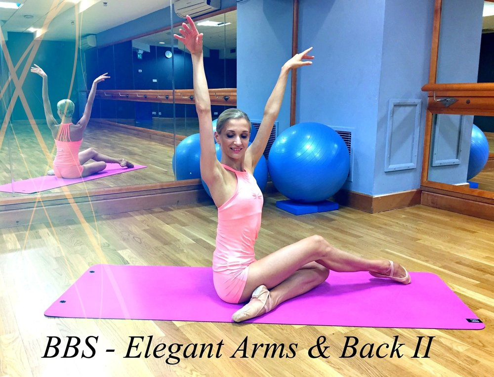 Ballet Body Sculpture - Elegant Arms & Back II   Gracefully sculpt, tone and lengthen the muscles in your arms and back. A great workout to reshape the upper body, create excellent posture to look elegant and sleek instantly!  Level: Beginner/Intermediate  Length :  Approx. 30min