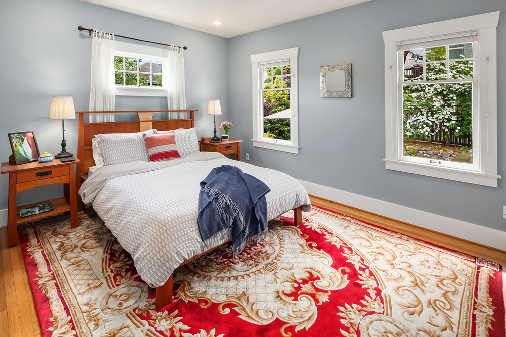 The first of four bright bedrooms, this one on the main floor.