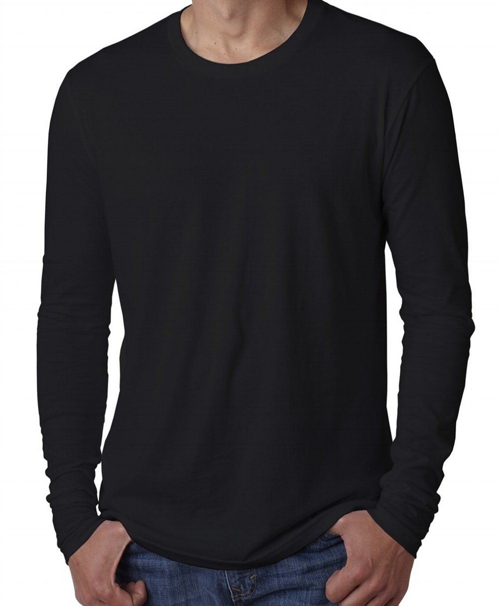 Unisex cotton long-sleeve crew neck (100% cotton, longer length, $$).